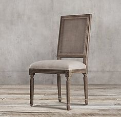 RH's Vintage French Square Cane Back Fabric Side Chair:We've reproduced the classic Louis XVI dining chair with a light and airy caned back, a version of the chair popular during the French colonial period. Updated in relaxed fabric and a casual finish, our chair also features a linear form, nuanced carving and scrollwork, and tapered legs.