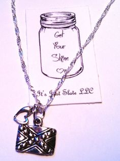 Silver Rebel Flag Necklace with Heart, Rebel Flag Necklace, Southern Necklace