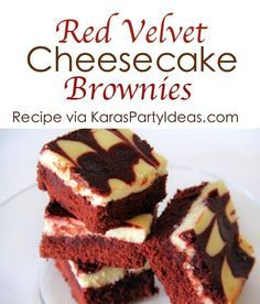 Red Velvet Cheesecake Brownies Recipe - Kara's Party Ideas - The Place for All Things Party