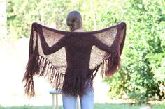 Brown Shawl Scarf Knit fringe Scarf hand knitted by ettygeller, $72.00