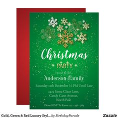 Gold, Green & Red Luxury Style Christmas Party Invitation Christmas Party Invitations, Christmas Baubles, Party Hats, Candy Cane, Rsvp, Party Themes, Luxury Fashion, Seasons, Holiday
