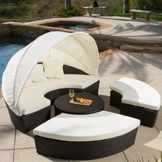La Mesa Cabana/ Canopy Set by Christopher Knight Home (brown wicker + navy blue cushion), Outdoor Patio Furniture (Aluminum) Outdoor Daybed, Outdoor Sofa Sets, Outdoor Sectional, Outdoor Living, Patio Daybed, Outdoor Swings, Daybed Canopy, Outdoor Patios, Modern Sectional