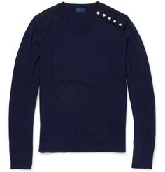 Faconnable Wool and Cashmere-Blend Crew Neck Sweater | MR PORTER