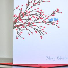Christmas Cards Holiday Cards  Winter Berry by deanpennandpaper, $18.00