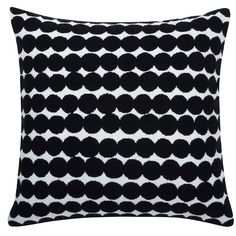 Räsymatto cushion cover, black, by Marimekko.