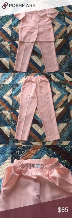 Alfred Dunner 2 Piece Pink Pantsuit Size 8 pants with elastic waist, with a matching shirt sleeve jacket with fine floral embroidery. Jacket could be worn with something underneath or fully buttoned up. Alfred Dunner Other