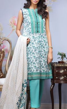 Buy White/Aqua Printed Cotton Lawn Dress by Alkaram 2016