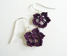 Dark Purple Microcrochet Leaf Earrings, Sterling Silver and Cotton Lace Earrings, Purple Wedding Accessories, Gift for Crochet Lovers Lace Earrings, Square Earrings, Crochet Earrings, Lace Skull, Vegas Strip, Heart Jewelry, Beaded Jewelry, Cotton Wedding Anniversary Gift, Lace Heart