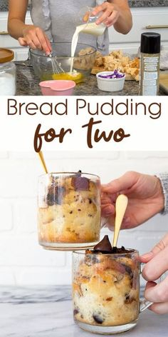 A small batch of bread pudding for two people. Bread pudding made in mugs! These mug cakes are so sweet and so perfect for a quick weeknight dessert. Easy to scale up and serve more than two. Bread pudding for two is so fast to make! for two Mug Recipes, Pudding Recipes, Cooking Recipes, Bread Recipes, Bread Pudding Recipe For Two, Easy Bread Pudding, Easy Recipes, Pudding Desserts, Cooking Videos