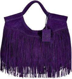 ShopStyle: Ralph Lauren Collection Purple Double Handle Fringed Suede Tote