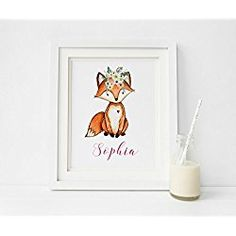 Woodland Nursery Decor, Personalized Nursery Decor, Fox Print, Print only unframed, Different sizes available