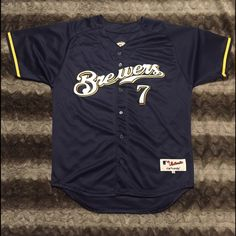 Milwaukee Brewers Jersey size Large Milwaukee Brewers Hardy Jersey size Men's Large. In Excellent Condition only worn once. Very nice quality stitching on both letters and numbers. On Field Quality Jersey. Majestic Authentic. Bundle & Save Today! Majestic Tops Tees - Short Sleeve