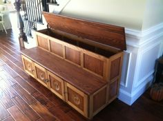Entry Bench With Storage And 3d Carvings