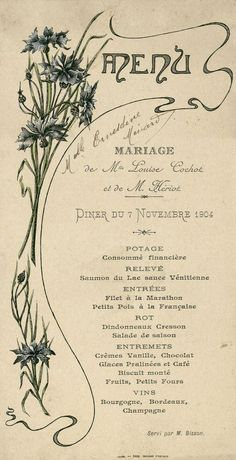 Années 1900/1910 Menu 1904. Bibliothèque municipale de Dijon — FR212316101__menus__M_0II_01045