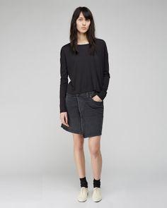 T By Alexander Wang / Single Jersey Long Sleeve 6397 / Twisted Skirt Maria La Rosa / Mid-Calf Silk Socks Repetto / Zizi Fleuri Oxford
