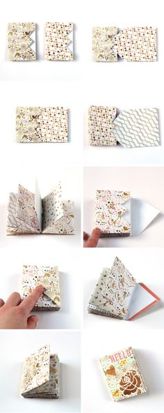 How to make a mini envelope book or journal. DIY tutorial to make a cute book of mini envelopes. Mini Envelope Album, Envelope Book, Origami Envelope, Diy Envelope, Large Envelope, Diy Paper, Paper Crafts, Diy Crafts, Mini Scrapbook Albums