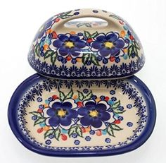 Classic Boleslawiec Hand Painted Stoneware Butter Dish with lid 331-U-097: Amazon.co.uk: Kitchen & Home
