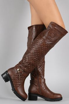Embossed Emblem Quilted Knee High Boots | UrbanOG
