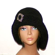 Black Cloche Hat Flapper Womens Button Downton Abbey Freeform Beanie Crochet Gatsby Bucket - product images  of