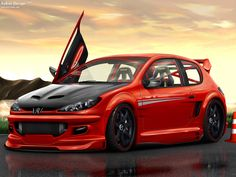 Auto Tuning Peugeot 206 Background Wallpaper