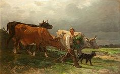 Farm Paintings - Breton Lad With Cattle  by Julius Caesar Ibbetson