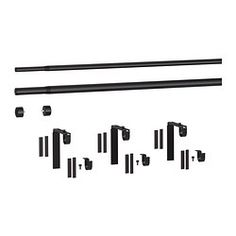 RÄCKA / HUGAD Double curtain rod combination - IKEAThe combination includes 3 packages of wall/ceiling brackets, 3 packages of curtain rod holders, 2curtain rods and 1 package of finials (2 in the package). All parts are sold as separate articles in IKEA stores. Maxlength 151 5/8 inches $20.91 Max. load of the thick curtain rod is 22 lbs and the thin curtain rod 11 lbs.