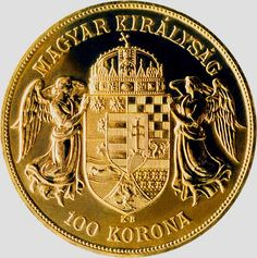 Hungarian gold bullion coin. Minted in 2010, this coin was struck in 986 fine gold, exclusively in Proof quality with a maximum mintage of 30,000 pieces.  Splendidly depicted on the coin's obverse, the crown's peculiar bent cross has been the source of much speculation over the centuries. But while this has fuelled the mythology surrounding the crown, its most probable explanation is a prosaic one, the cross being bent by the heavy lid of the case in which the crown was kept.