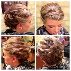 Wedding updo with headband-style braid, volume at the crown, and curls. Another client with hair above the shoulders, styled to help the hair appear longer. Medium length hair updo.   @hair_by_laurasteiner