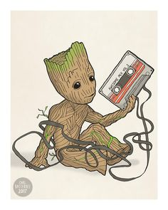 Baby Groot Guardians of the Galaxy Illustration Print