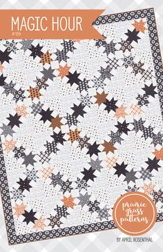 Magic Hour quilt pattern by April Rosenthal This listing is for one quilt pattern. It will finish at 66 x 78 inches . Halloween Quilt Patterns, Halloween Quilts, Star Quilts, Quilt Blocks, Scrappy Quilts, Star Blocks, Quilting Projects, Sewing Projects, Quilting Ideas