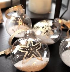 Shore Dreams and Beautiful Things DIY Coastal Christmas Decorations Could add sand from vacation Beach Christmas Ornaments, Coastal Christmas Decor, Nautical Christmas, Tropical Christmas, Christmas Balls, Christmas Holidays, Christmas Decorations, Holiday Decor, Christmas Ideas