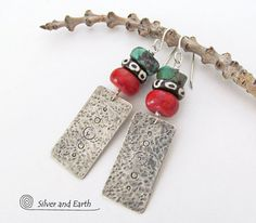Sterling Silver Tribal Earrings Hammered Stamped by SilverandEarth