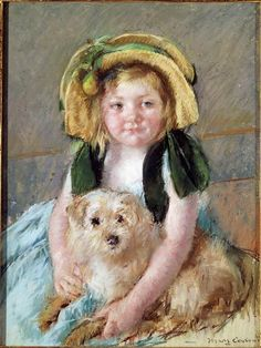 Mary Cassatt, Young girl with a dog.