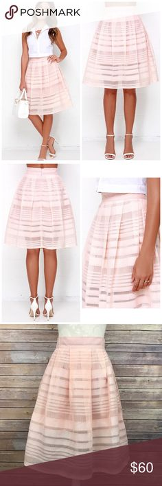 "Beulah Style Mid Thought Peach Midi Skirt Sz Small Waist: 13"" Length: 25""  Back hidden zipper; Lining stops at mid thigh  Condition: No Rips; No Stains  100% Polyester   📦I ship orders within 24 Hours! {Except Weekends}📦  🚫No Trades🚫No Holds🚫 Lulu's Skirts Midi"