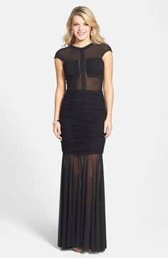 Terani Couture Ruched Sheer Panel Trumpet Gown available at #Nordstrom
