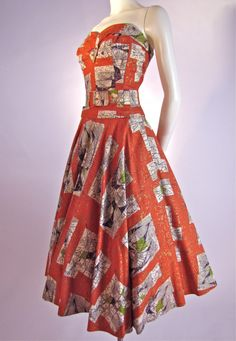 1950's Jean's of California #Atomic Print Ensemble #vintage #dresses