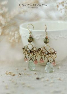 """Earrings """"Mint Breeze"""" - moss quartz, watermelon quartz, aquamarine, tourmaline, brass"""