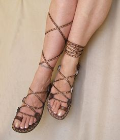 Lace Up  Flat  Sandals Greek Goddess Brown Leather With por Calpas, $70.00