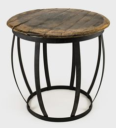 A barrel side table that will fit anywhere.
