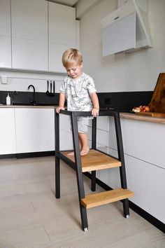 5 Easy Home Improvement Projects That Make Your Home Feel Like New - Sweet Crib Kitchen Step Stool, Kitchen Stools, Wooden Kitchen, Toddler Kitchen, Learning Tower, Diy Stool, Ikea, Kitchen Helper, Contemporary Dining Chairs