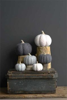 Felted Wool Pumpkin Decoration, 2 Colors + 2 Sizes