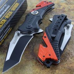Orange Black EMT Folding Pocket Knife Seat Belt Cutter Steel Blade NEW K25 #TacForce