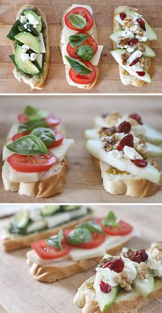 Margherita, Green Goddess, and Pear Gorgonzola grilled cheese sandwiches (via JulieAnnArt)