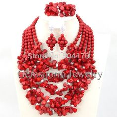 >> Click to Buy << Terrific Nigerian Coral Beads Jewelry Set Gorgeous Red African Beads Set Wedding Bridal Jewelry Set Free Shipping CNR225 #Affiliate