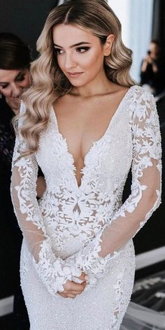 Wedding Dress Designers You Want To Know About ★ wedding dress designers illusion lace sleeves plunging neckline berta wedding dress 10 Wedding Dress Designers You Will Love Lilac Bridesmaid Dresses, Long Wedding Dresses, Long Sleeve Wedding, Wedding Dress Sleeves, Designer Wedding Dresses, Bridal Dresses, Lace Sleeves, Wedding Designers, Dress Lace