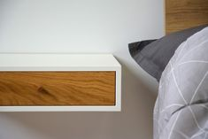 Floating bedside shelf with drawer Floating Bedside Shelf, Wooden Drawers, Drawer Shelves, American Walnut, Home Reno, Wood Colors, Types Of Wood, Painting On Wood, Bedroom Furniture