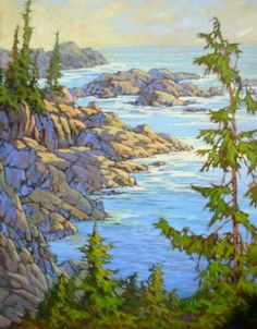Rugged Shores, Wild Pacific Trail by Amanda Jones Drawing Trees, Amanda Jones, Canadian Painters, Community Art, E Design, Painting Art, Trail, Coastal, Beautiful Pictures