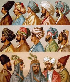 """Turban Styles - from """"Le Costume Historique"""", 1888"""