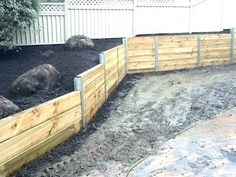 Retaining Wall Design Ideas - Get Inspired by photos of Retaining Walls from Aus. Retaining Wall D Retaining Wall Cost, Sleeper Retaining Wall, Backyard Retaining Walls, Retaining Wall Design, Building A Retaining Wall, Stone Retaining Wall, Backyard Pergola, Backyard Landscaping, Backyard Ideas