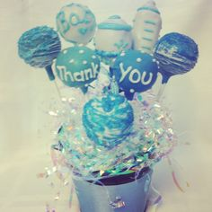 a thank you cake pop bucket from Sweet Treats by Davalons! http://www.sweettreatsbydavalons.com